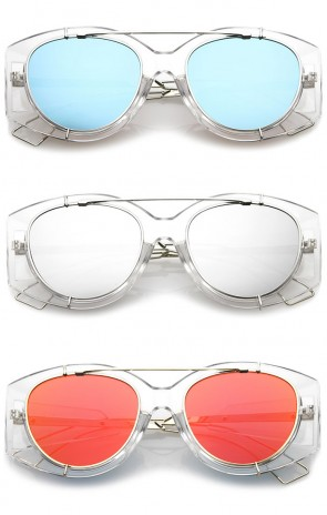 Futuristic Translucent Wire Metal Arms Crossbar Mirrored Flat Lens Oversize Sunglasses 53mm