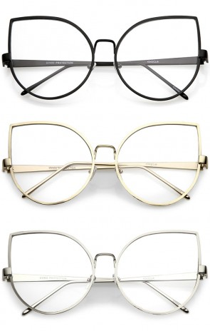 Oversize Slim Metal Arms Round Clear Flat Lens Cat Eye Glasses 62mm