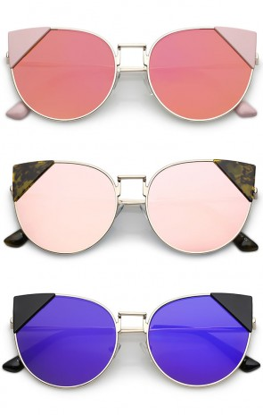 Women's Corner Tip Accent Metal Mirrored Round Flat Lens Cat Eye Sunglasses 56mm