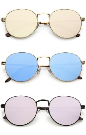 Classic Full Metal Frame Round Sunglasses With Color Mirrored Flat Lens 50mm