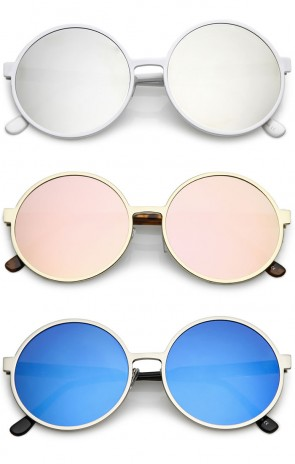 Oversize Metal Frame Color Mirrored Flat Lens Round Sunglasses 58mm