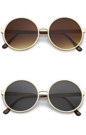 Oversize Metal Frame Neutral Colored Flat Lens Round Sunglasses 58mm
