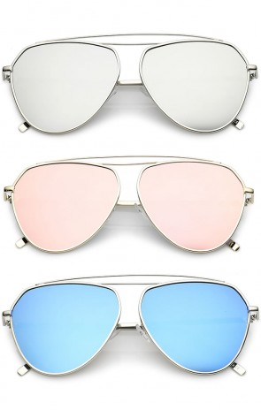 Oversize Metal Curved Crossbar Colored Mirror Flat Lens Aviator Sunglasses 59mm