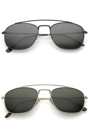 Classic Metal Curved Crossbar Square Lens Aviator Sunglasses 53mm