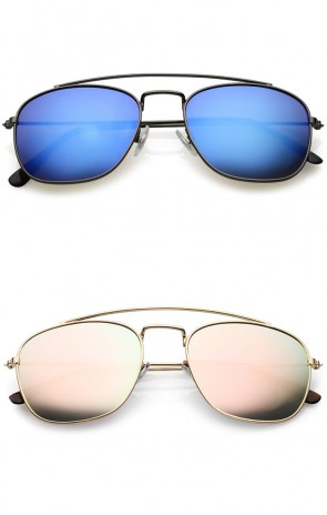Classic Metal Curved Crossbar Mirrored Square Lens Aviator Sunglasses 53mm