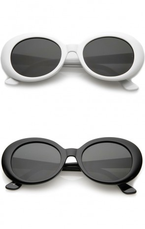 Retro Tapered Arms Neutral Colored Round Lens Oval Sunglasses 53mm