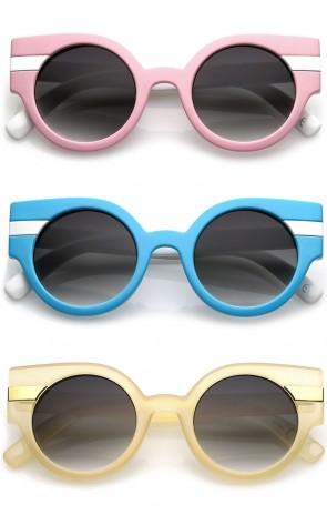 Modern Striped Chunky Round Lens Cat Eye Sunglasses 46mm