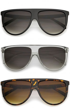 Modern Oversize Flat Top Neutral Color Flat Lens Aviator Sunglasses 59mm