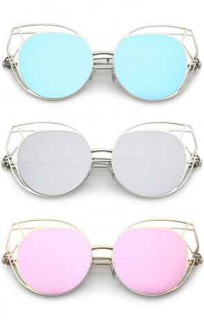 Geometric Cutout Thin Metal Frame Round Mirrored Flat Lens Cat Eye Sunglasses 53mm