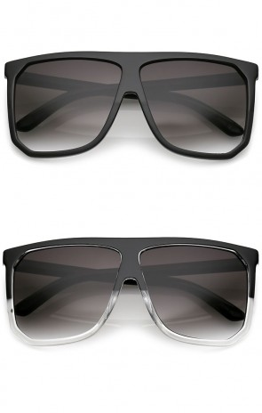 Oversize Two Toned Frame Square Lens Flat Top Sunglasses 62mm