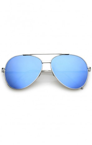 Classic Crossbar Metal Slim Arms Color Mirrored Teardrop Flat Lens Aviator Sunglasses 56mm