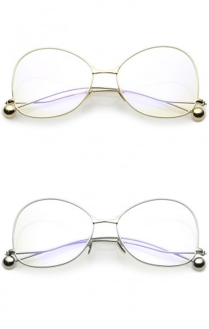 Women's Thin Metal Arms Ball Accent Clear Lens Oversize Butterfly Glasses 58mm