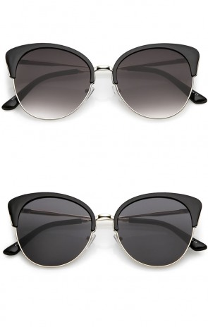 Oversize Half Frame Neutral Colored Round Flat Lens Cat Eye Sunglasses 58mm