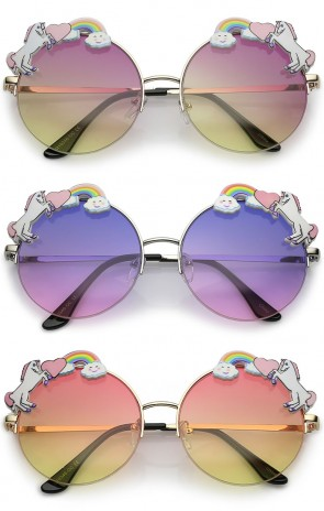 Unicorn Rainbow Semi Rimless Gradient Colored Round Lens Sunglasses 56mm
