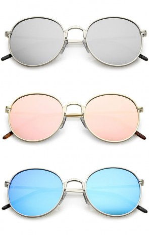 Classic Metal Frame Thin Arms Colored Mirror Round Flat Lens Sunglasses 52mm