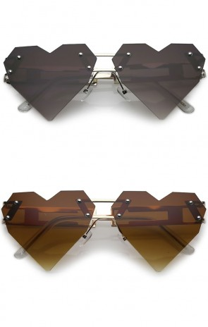 Oversize Laser Cut Metal Arms Rivet Neutral Colored Lens Heart Sunglasses 60mm