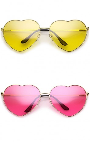 Oversize Thin Metal Arms Colored Lens Heart Sunglasses 70mm