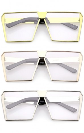 Modern Oversize Semi Rimless Clear Flat Lens Square Eyeglasses 69mm