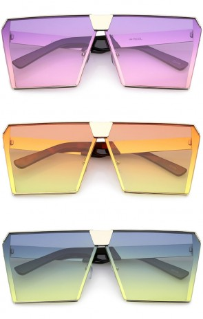 Modern Oversize Semi Rimless Gradient Color Flat Lens Square Sunglasses 69mm