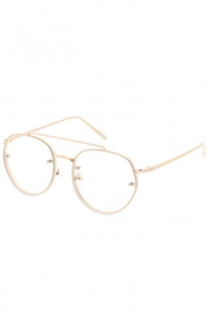 ba6ad40328 Modern Slim Brow Bar Rimless Clear Round Flat Lens Aviator Eyeglasses 59mm