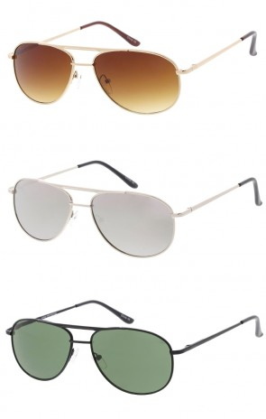 Unisex Small Metal Aviator Neutral Colored Lens Wholesale Sunglasses