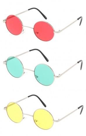 Small Round Lennon Style Color Lens Wholesale Sunglasses