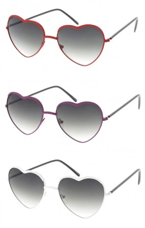 Women's Metal Heart Gradient Lens Wholesale Sunglasses