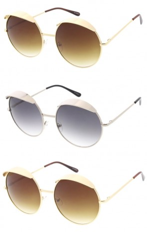 Oversize Metal Top Cover Round Neutral Colored Lens Wholesale Sunglasses