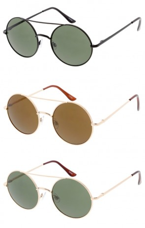 Unisex Crossbar Round Neutral Colored Lens Wholesale Sunglasses