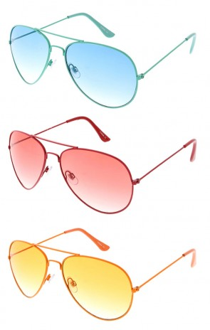 Retro Mono Tonal Avaitors Wholesale Sunglasses