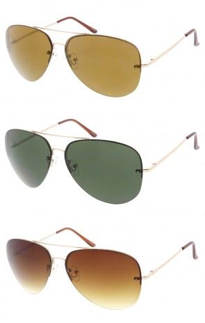 Oversize Rimless Metal Aviator Neutral Colored Lens Wholesale Sunglasses