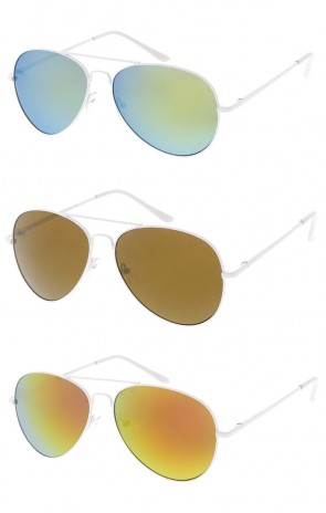 Classic White Frame Mirror Lens Aviator  Wholesale Sunglasses