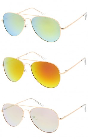 Premium Classic Aviator Mirror Lens Wholesale Sunglasses