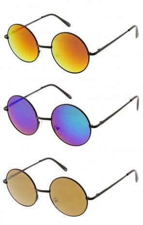 Retro Flash Round Color Mirror Lens Metal Wholesale Sunglasses