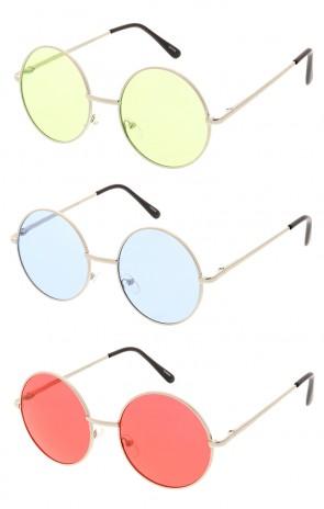 Retro Hippie Metal Lennon Round Color Lens Wholesale Sunglasses