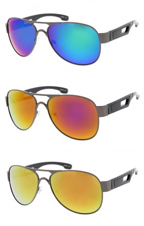Classic Metal Wide Arm Aviator Colored Mirror Lens Wholesale Sunglasses