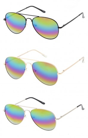 Classic Metal Tear Drop Rainbow Mirrored Lens Aviator Wholesale Sunglasses