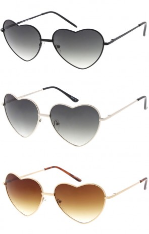 Women's Metal Heart Shape Wholesale Sunglasses