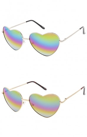 Metal Heart Shape Frame Mirrored Lens Wholesale Sunglasses