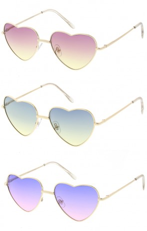 Cute Metal Heart Shape Color Lens Wholesale Sunglasses