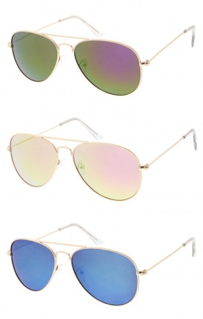Classic Small Metal Aviator Colored Mirror Lens Wholesale Sunglasses