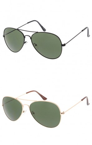 Classic Small Metal Aviator Green Lens Wholesale Sunglasses