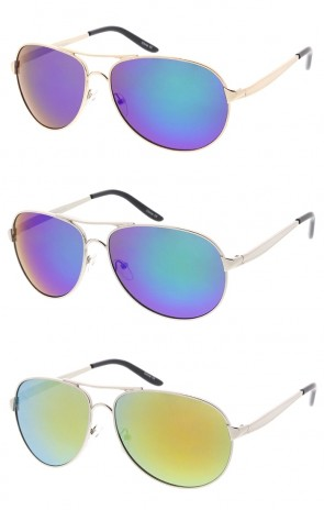 Classic Metal Crossbar Aviator Colored Mirror Lens Wholesale Sunglasses