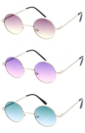 Unisex Small Round Metal Color Tinted Gradient Lens Wholesale Sunglasses