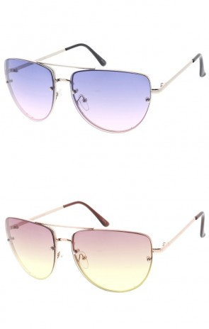 Oversize Metal Aviator Color Tinted Gradient Lens Wholesale Sunglasses
