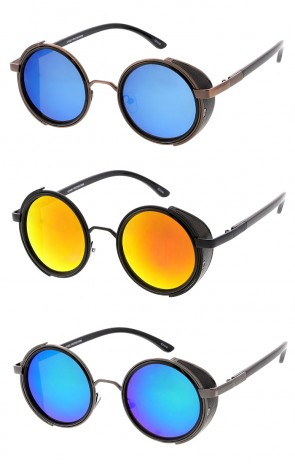 Vintage Inspired Round Mirror Lens Metal Steampunk Wholesale Sunglasses