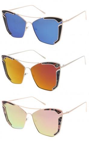Women's Flower Print Cat Eye Revo Lens Wholesale Sunglasses