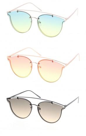Womens Fashion Cross-Bar Aviator Shape Sunglasses (Ocean Lens)