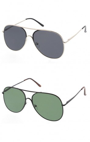 Large Metal Aviator Style Sunglasses