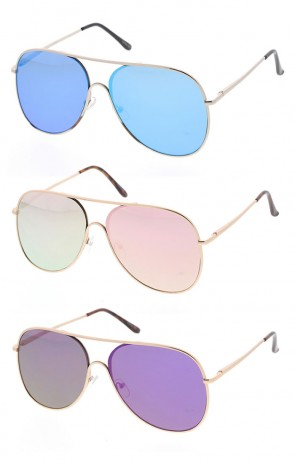 Large Metal Mirrored Aviator Style Sunglasses